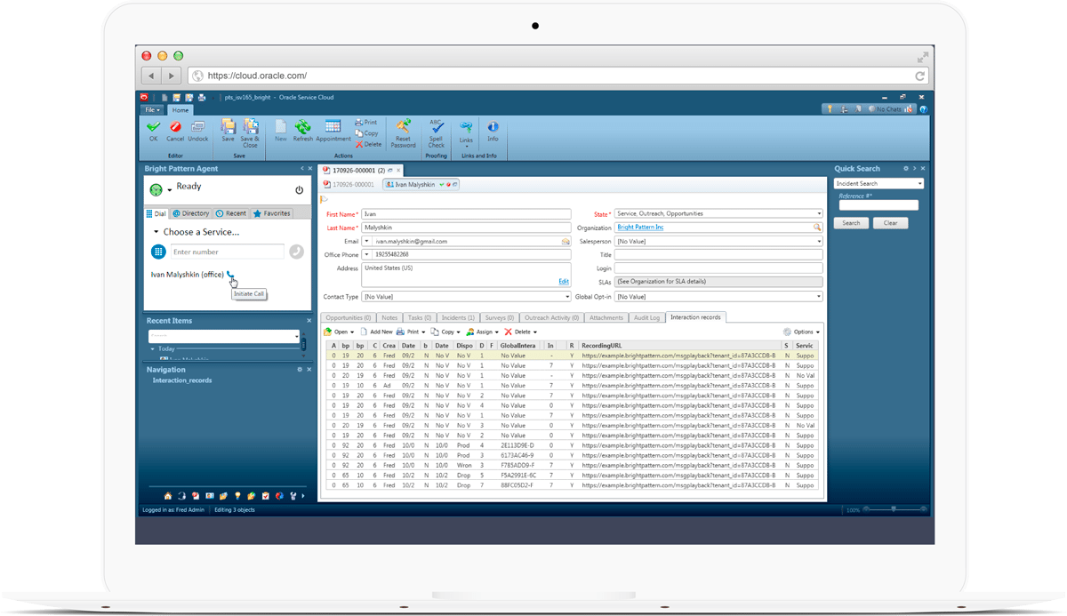 Oracle service cloud contact center features