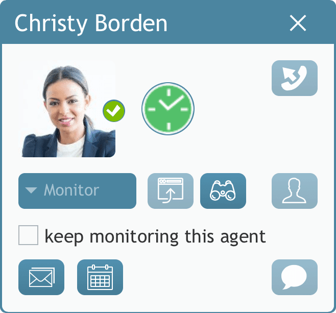 image: Agent Desktop dialog shows monitoring tools for supervisors